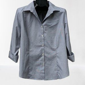 TALBOTS Gray Career Button Up 3/4 Sleeve Plus 16